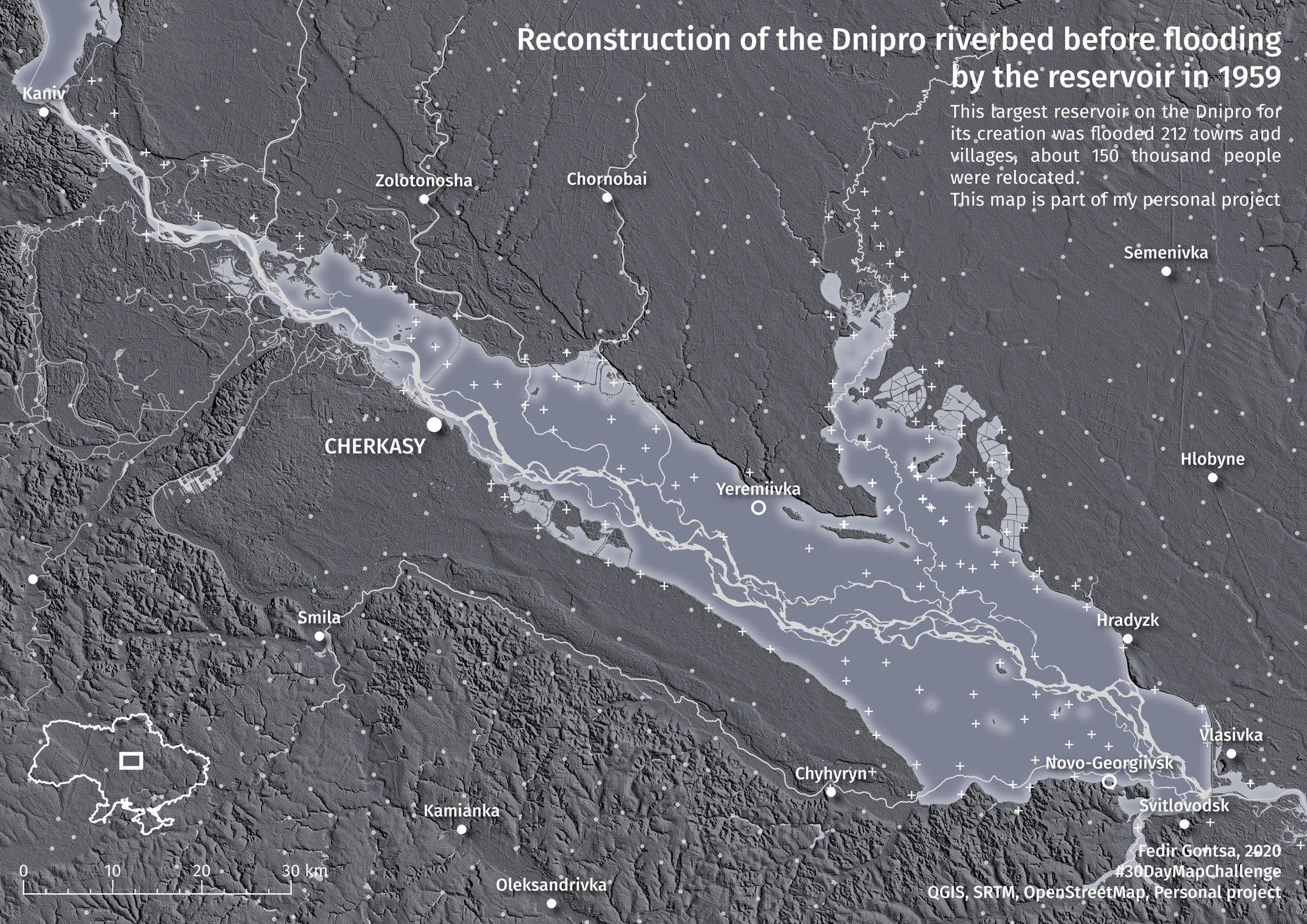 Черкащанин відтворив на карті затоплені території Кременчуцького водосховища