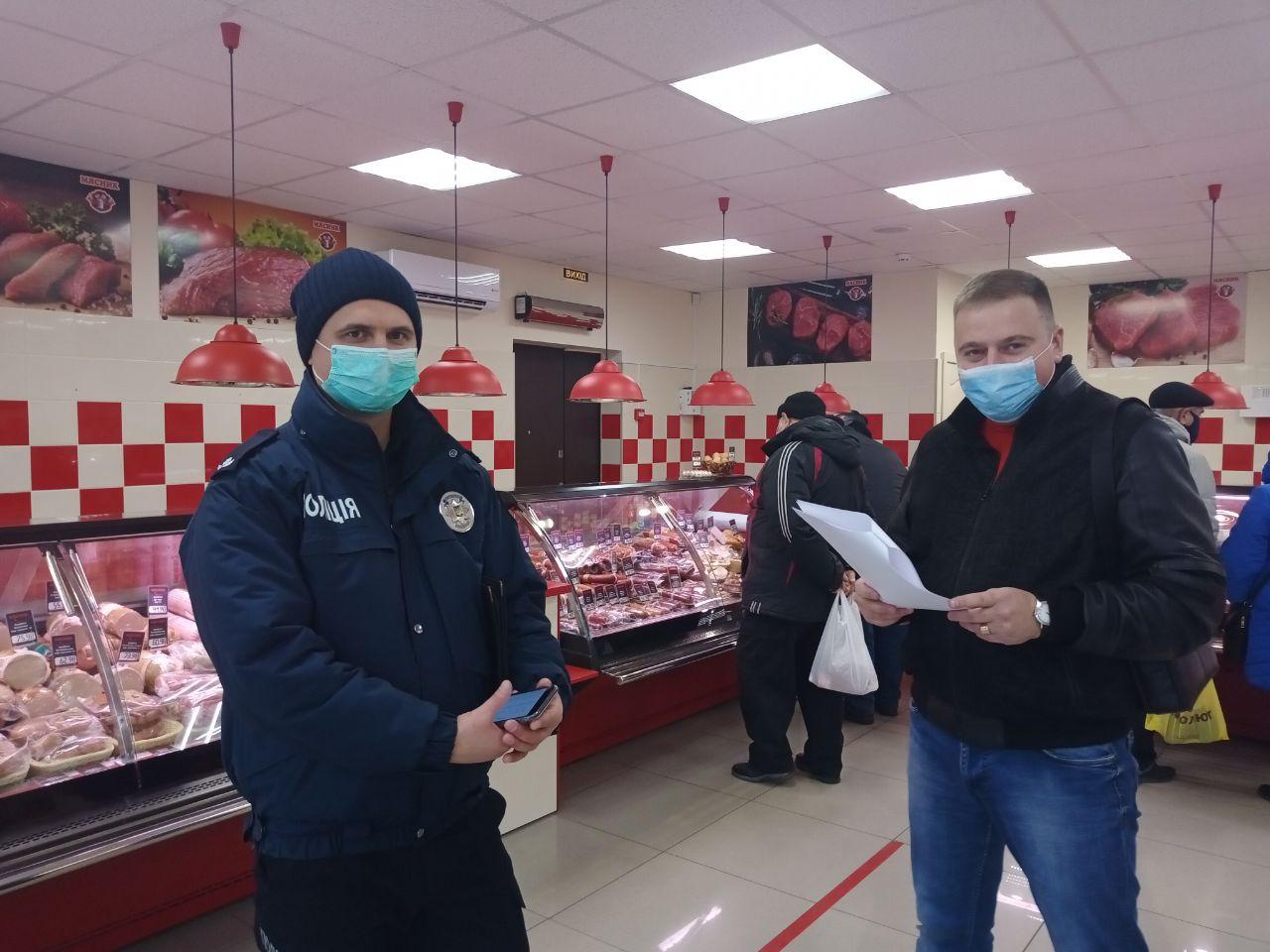 Карантин «вихідного дня»: у Черкасах проінспектували заклади торгівлі (ФОТО)