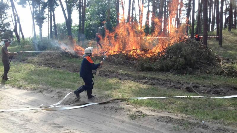 На Золотоніщині лісівники та рятувальники удосконалювали навички гасіння лісових пожеж