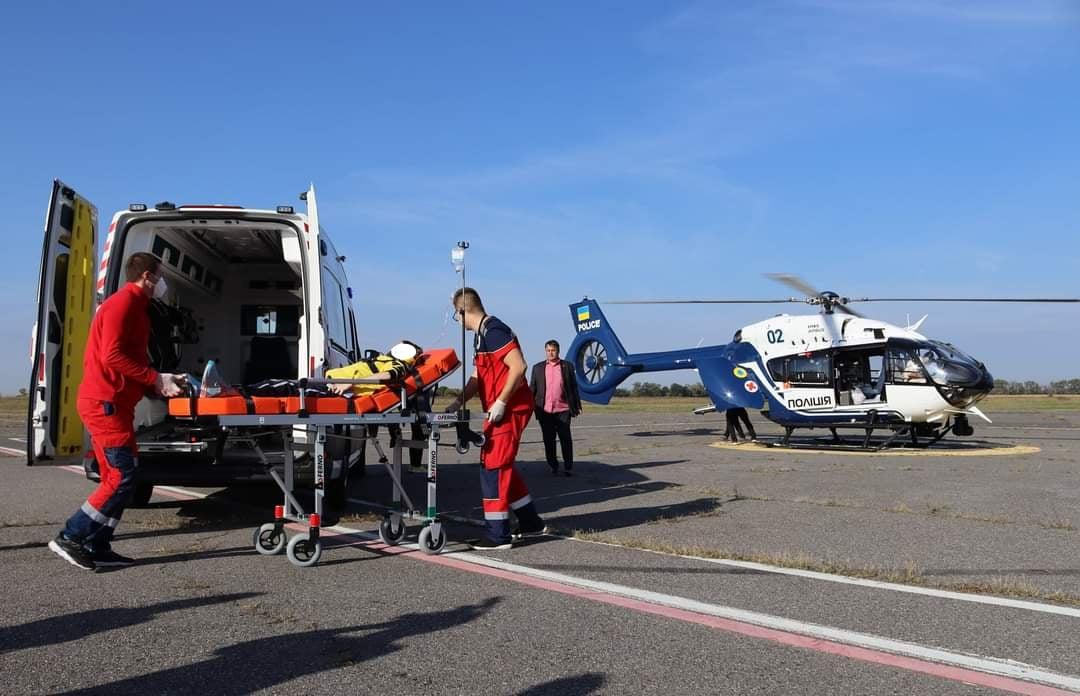 Із Черкас уперше транспортували гелікоптером хворого до Києва (ФОТО)
